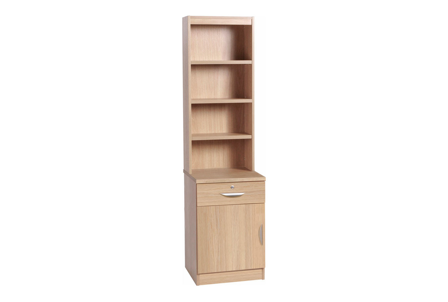 Small Office Deep Cupboard With Single Drawer & Hutch Bookcase