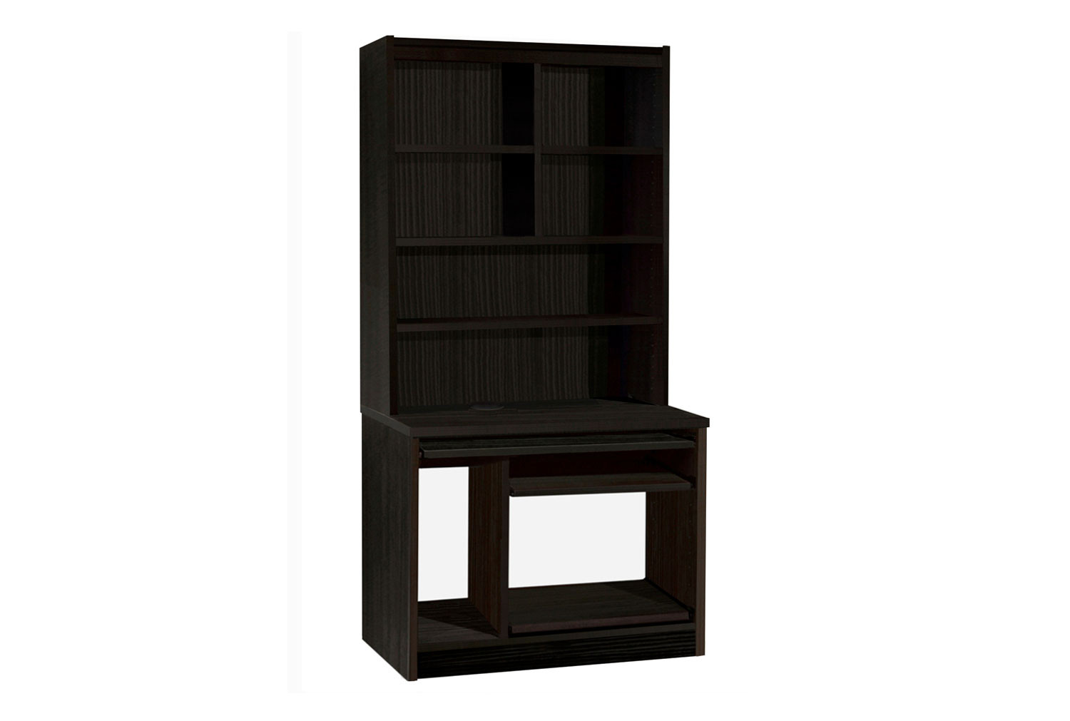 Small Office Computer Workstation With Hutch Bookcase (Black Havana)