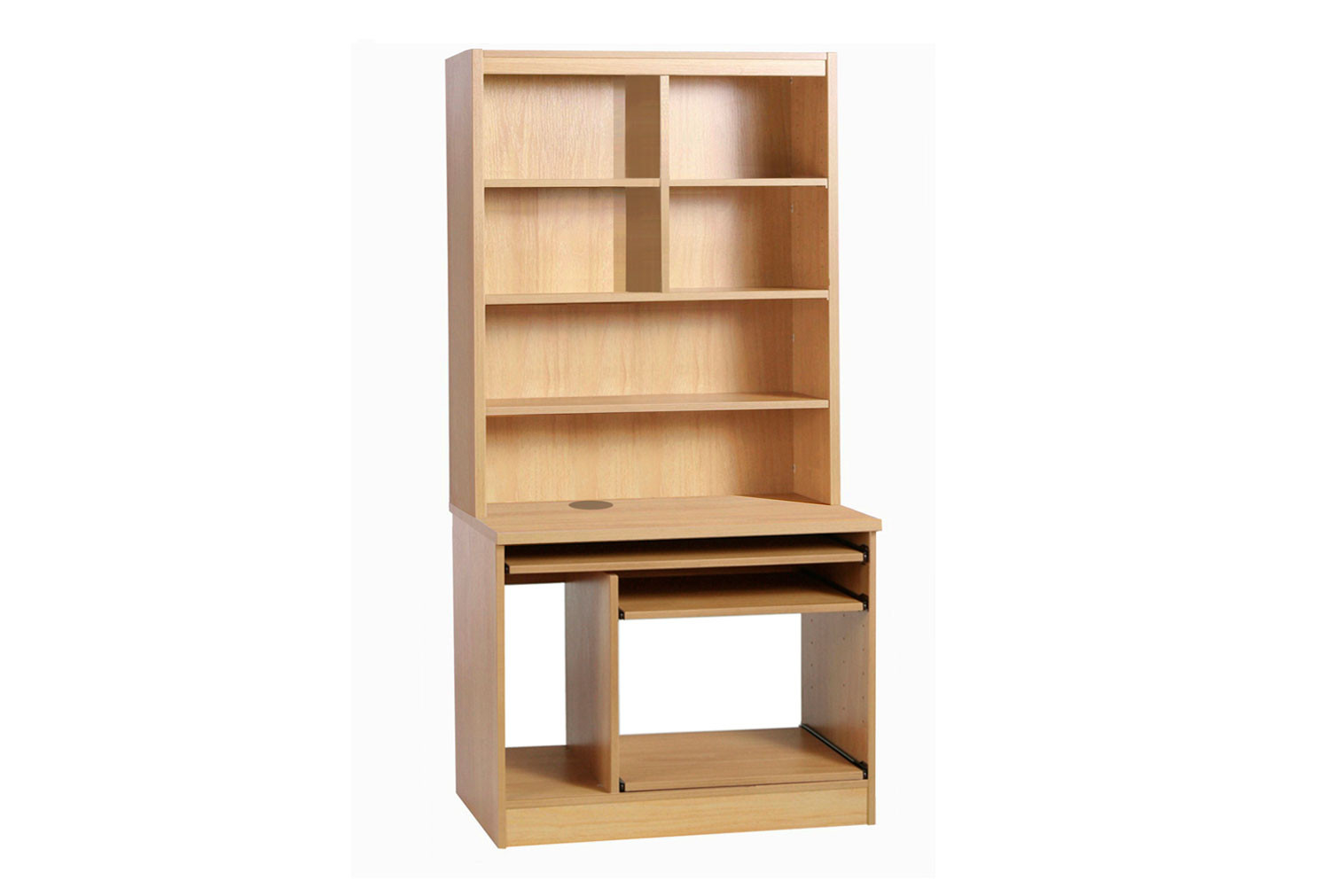 Small Office Computer Workstation With Hutch Bookcase (Classic Oak)