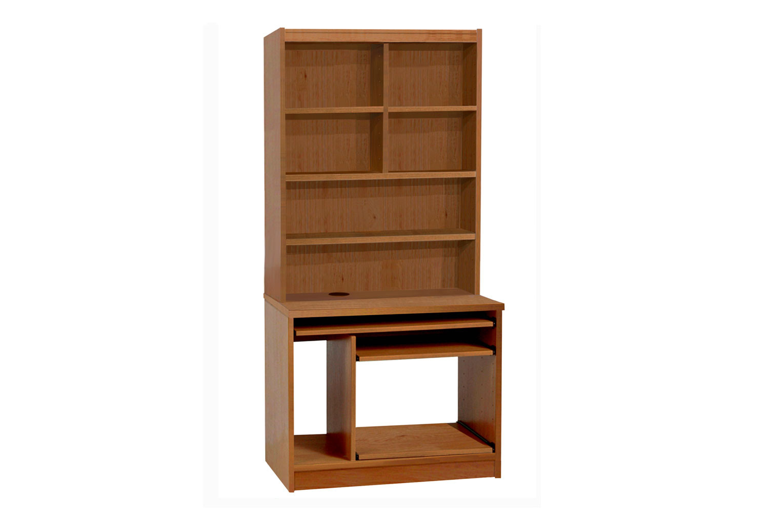 Small Office Computer Workstation With Hutch Bookcase (English Oak)