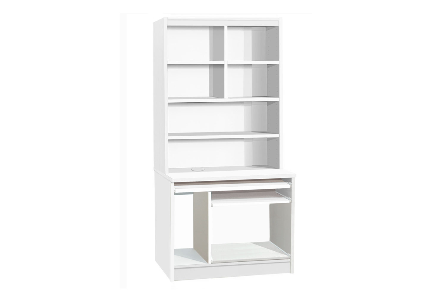 Small Office Computer Workstation With Hutch Bookcase (White)