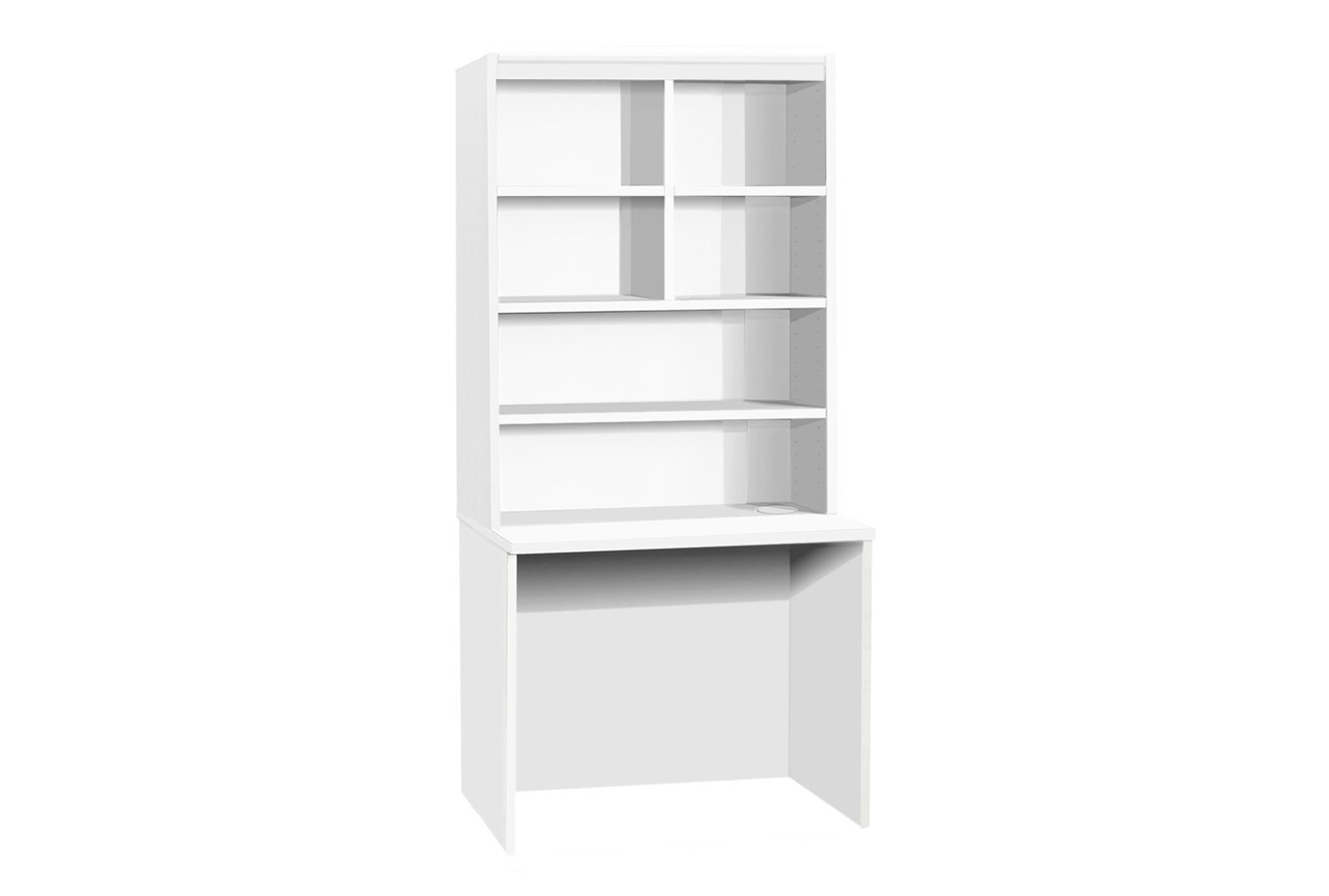 Small Office Rectangular Desk With Hutch Bookcase (White)