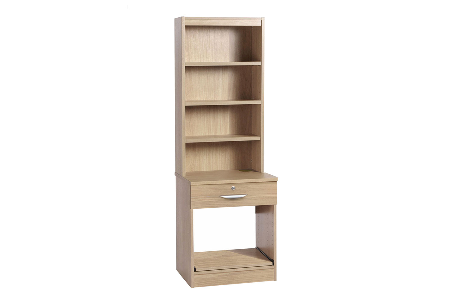 Small Office Printer/Scanner Unit With Single Drawer & Hutch Bookcase