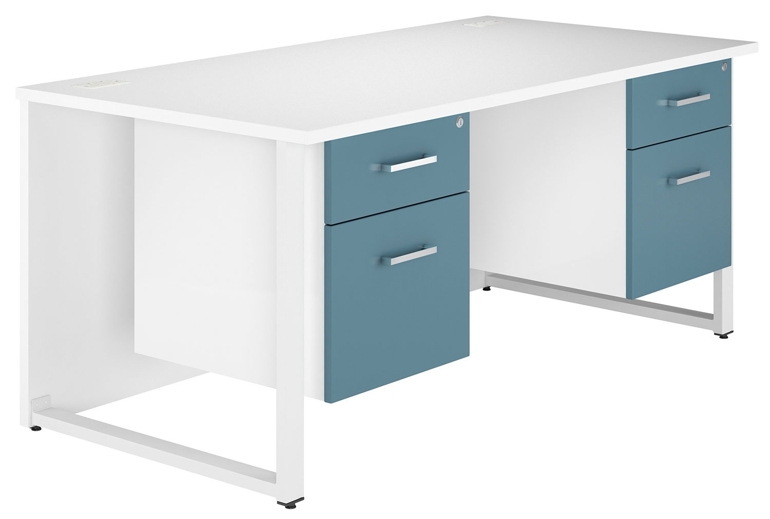Solero Hooped Leg Double Pedestal Desk (Light Blue)