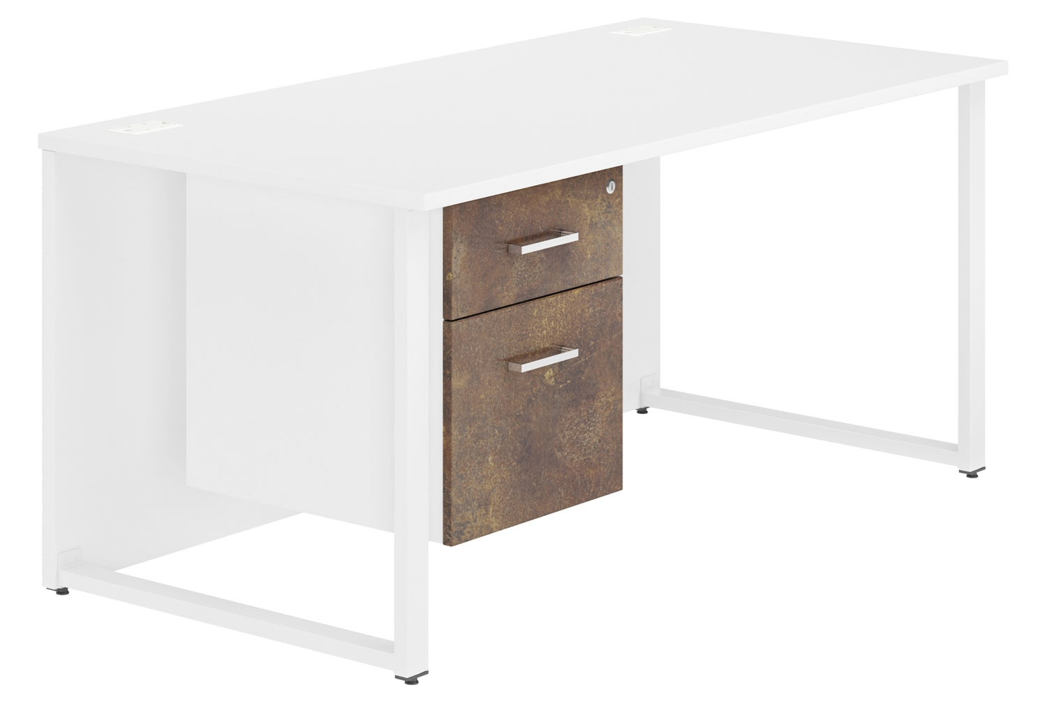 Delgado Hooped Leg Single Pedestal Desk (Rusted Steel)