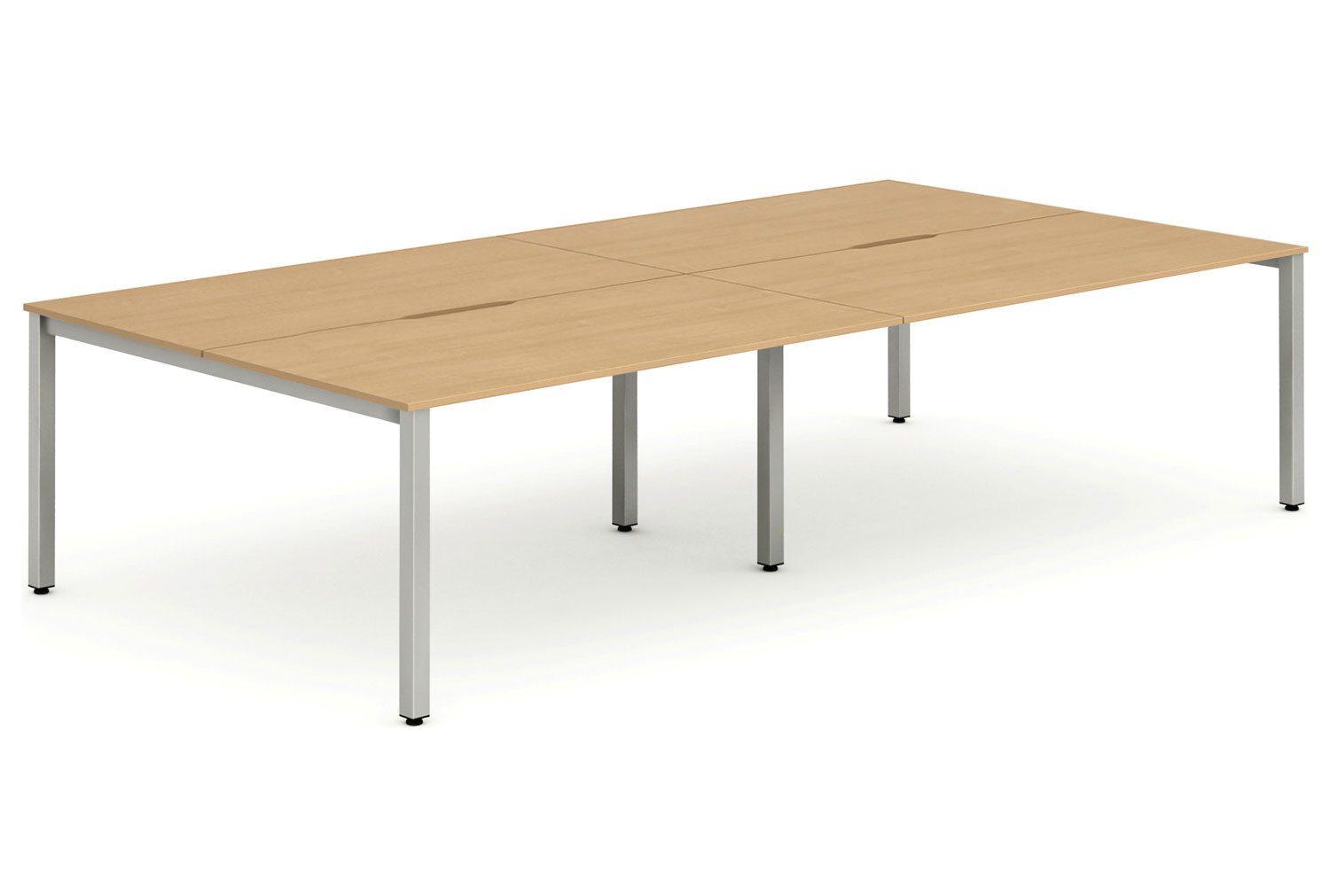 Pamola Double Back To Back Bench Desk (Silver Legs)