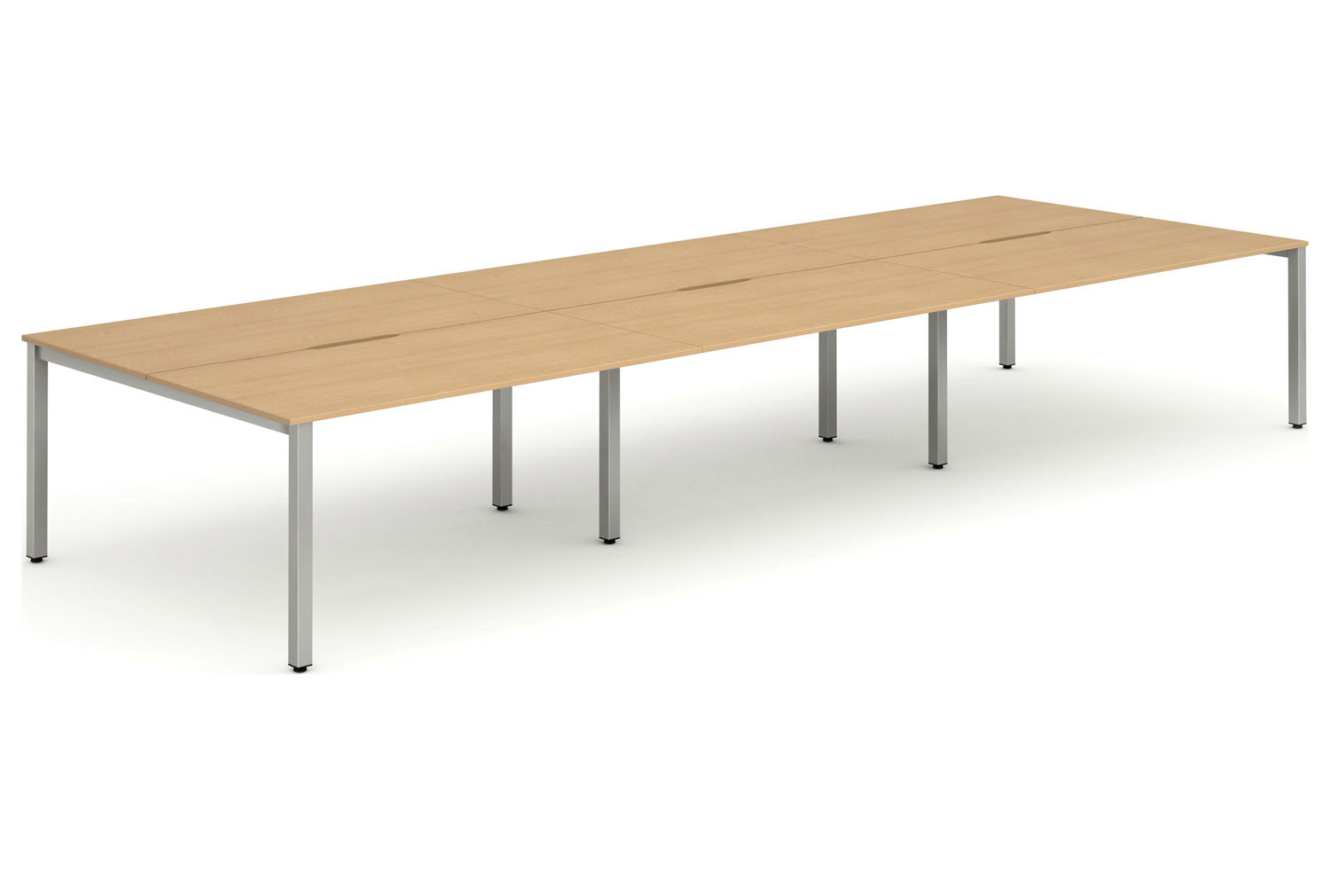 Pamola Triple Back To Back Bench Desk (Silver Legs)