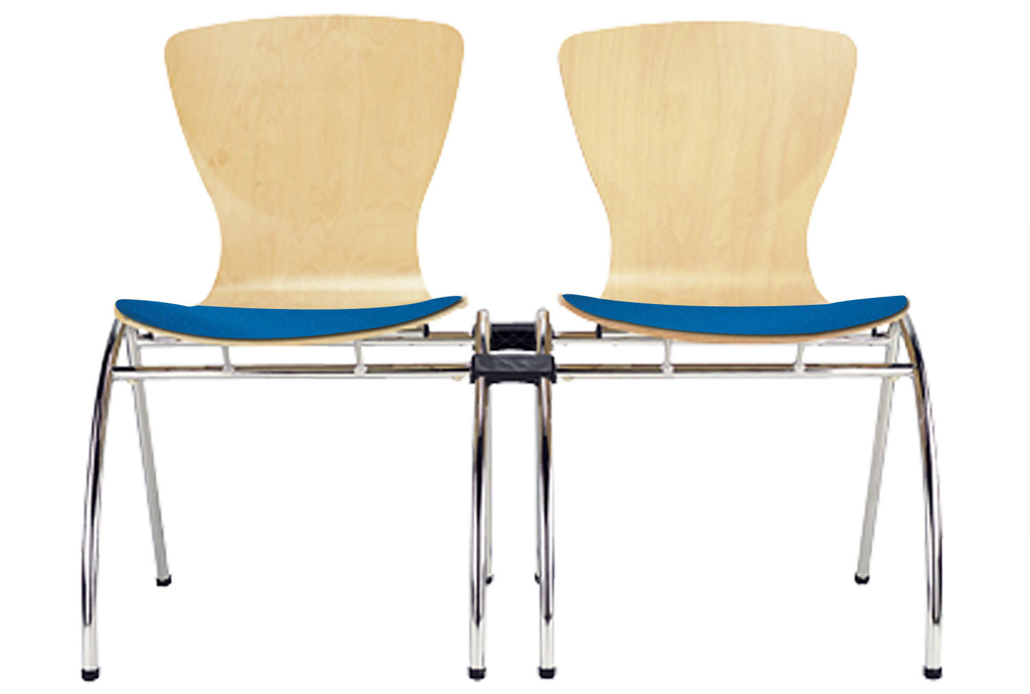 Pack of 4 Serena Linking Side Chairs With Upholstered Seat