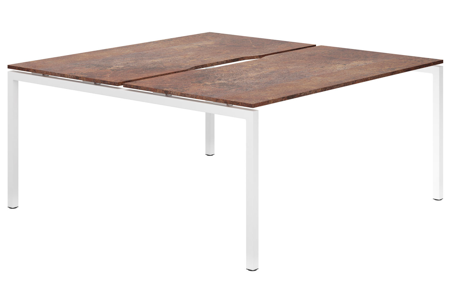 Lasso H-Leg 2 Person Back To Back Bench Desk (Rusted Steel)