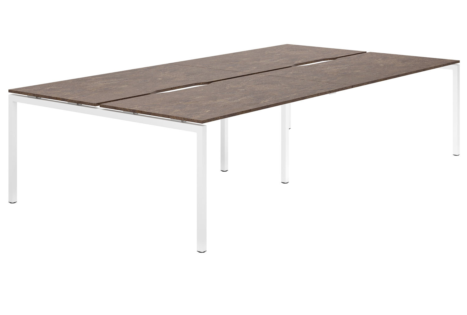 Lasso H-Leg 4 Person Back To Back Bench Desk (Pitted Steel)