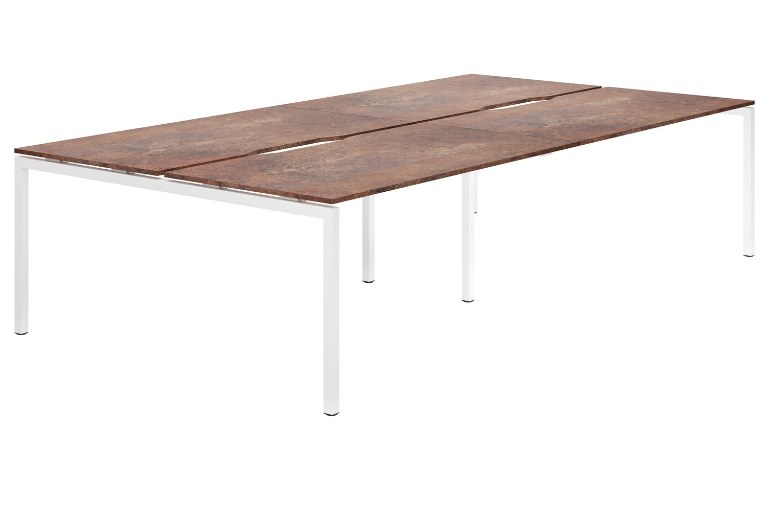 Lasso H-Leg 4 Person Back To Back Bench Desk (Rusted Steel)