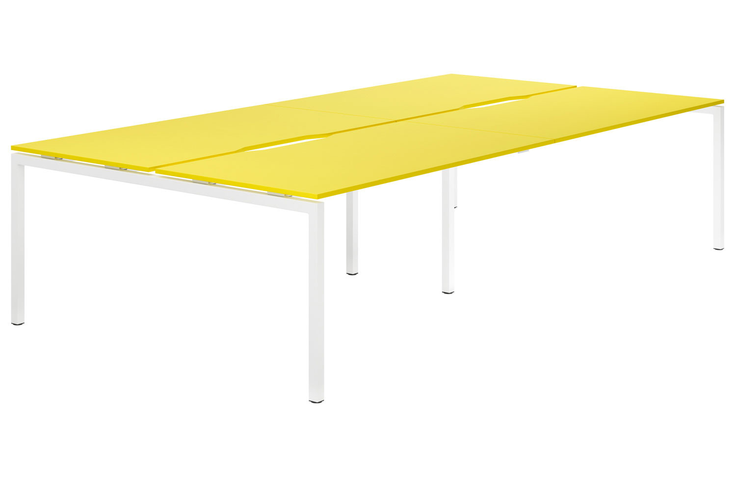 Campos H-Leg 4 Person Back To Back Bench Desk (Yellow)