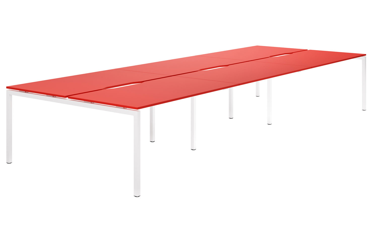 Campos H-Leg 6 Person Back To Back Bench Desk (Red)