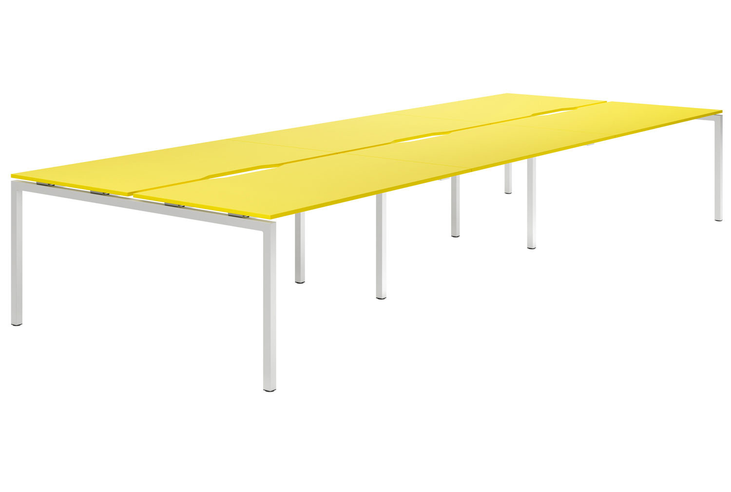 Campos H-Leg 6 Person Back To Back Bench Desk (Yellow)
