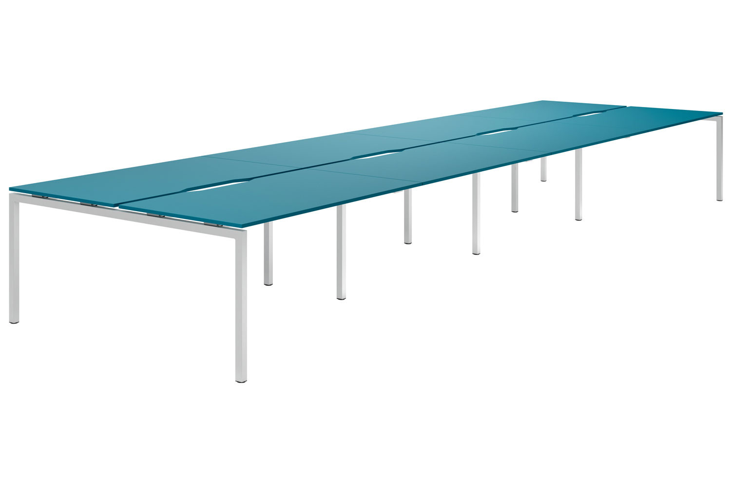 Campos H-Leg 8 Person Back To Back Bench Desk (Light Blue)
