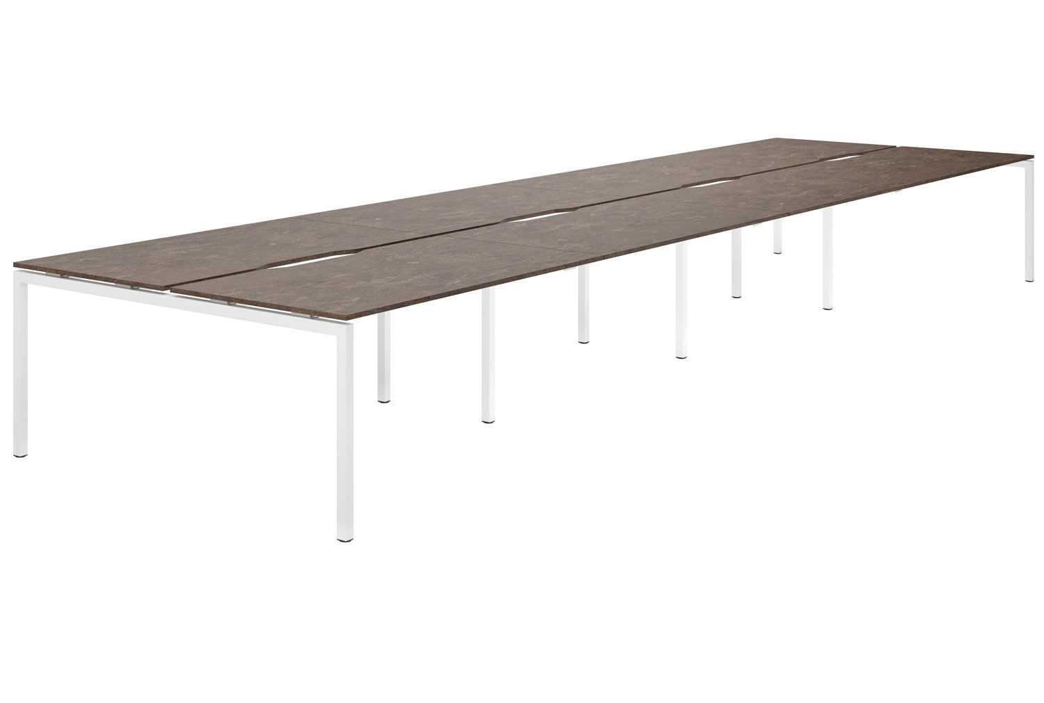 Lasso H-Leg 8 Person Back To Back Bench Desk (Pitted Steel)