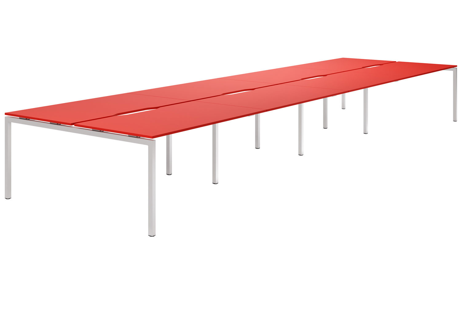 Campos H-Leg 8 Person Back To Back Bench Desk (Red)