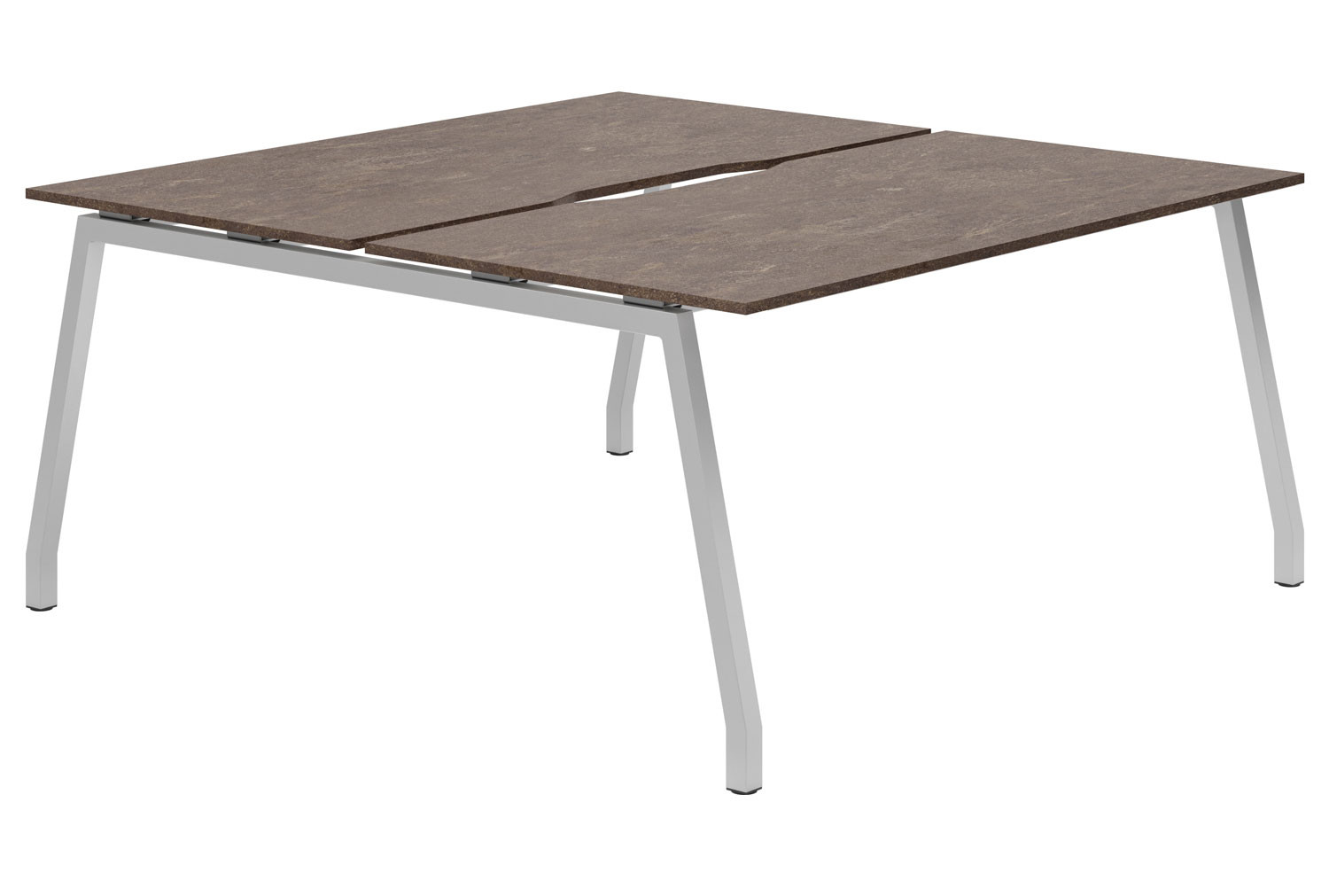 Lasso A-Frame 2 Person Back To Back Bench Desk (Pitted Steel)