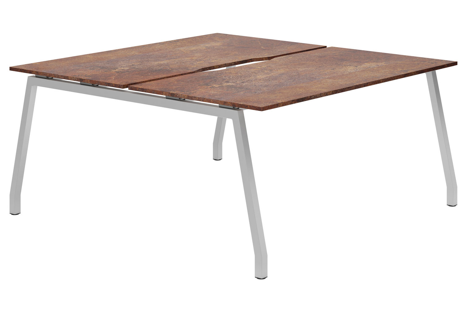 Lasso A-Frame 2 Person Back To Back Bench Desk (Rusted Steel)