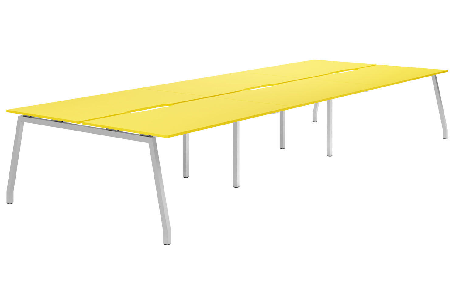 Campos A-Frame 6 Person Back To Back Bench Desk (Yellow)