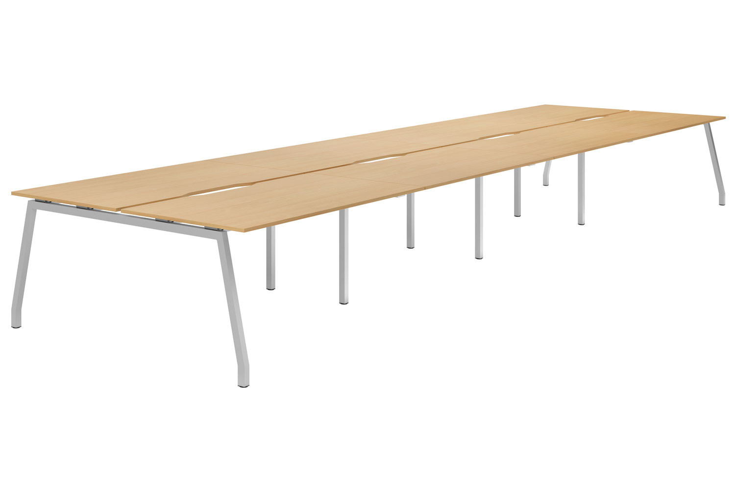 Lozano A-Frame 8 Person Back To Back Bench Desk (Beech)