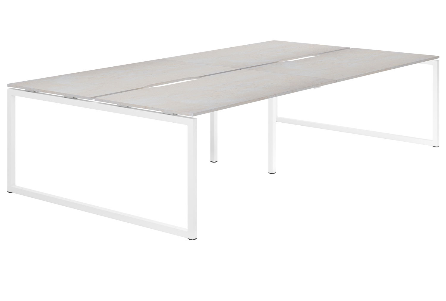 Lasso Hooped Leg 4 Person Back To Back Bench Desk (Concrete)