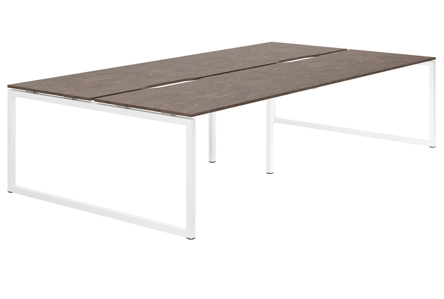 Lasso Hooped Leg 4 Person Back To Back Bench Desk (Pitted Steel)