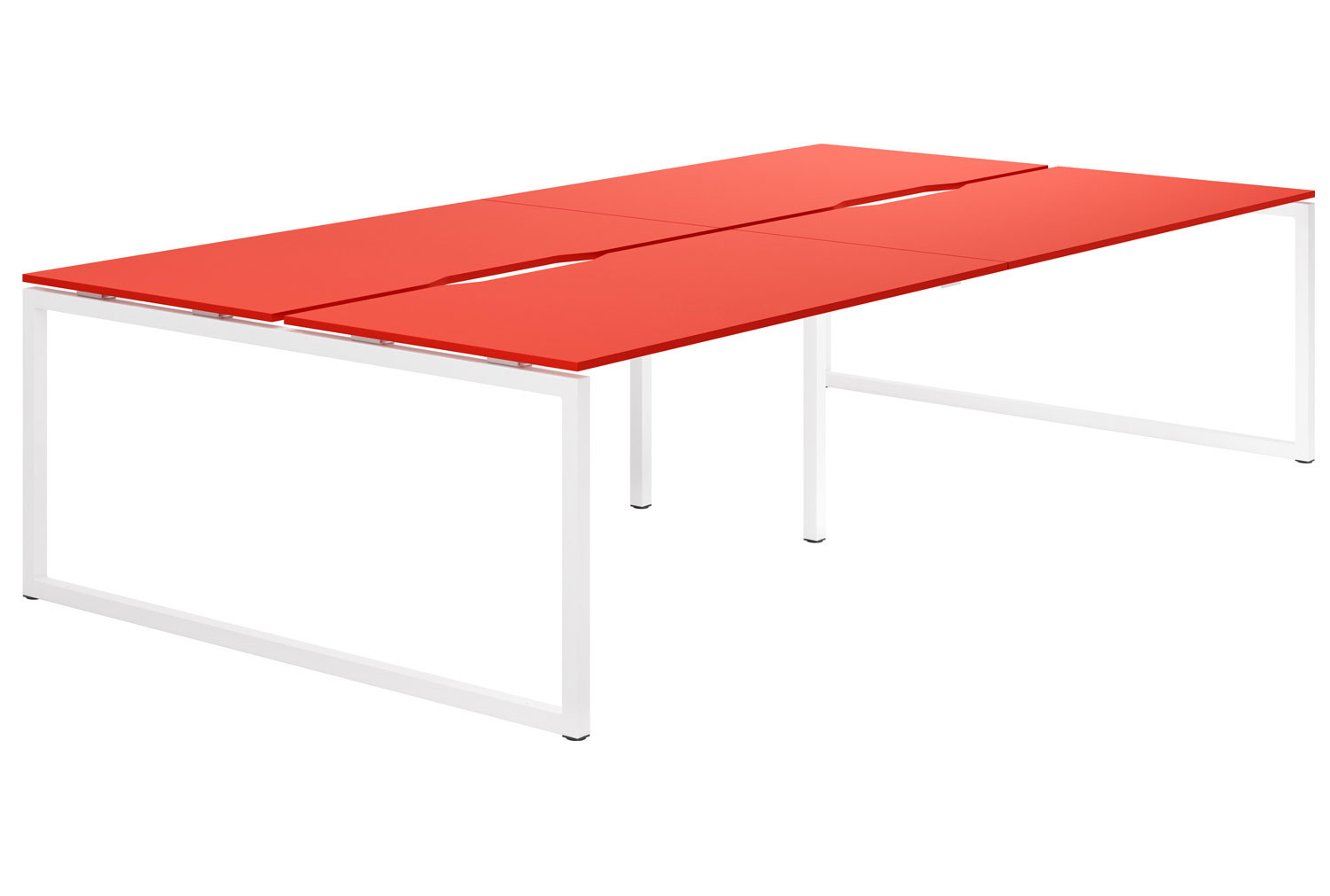 Campos Hooped Leg 4 Person Back To Back Bench Desk (Red)