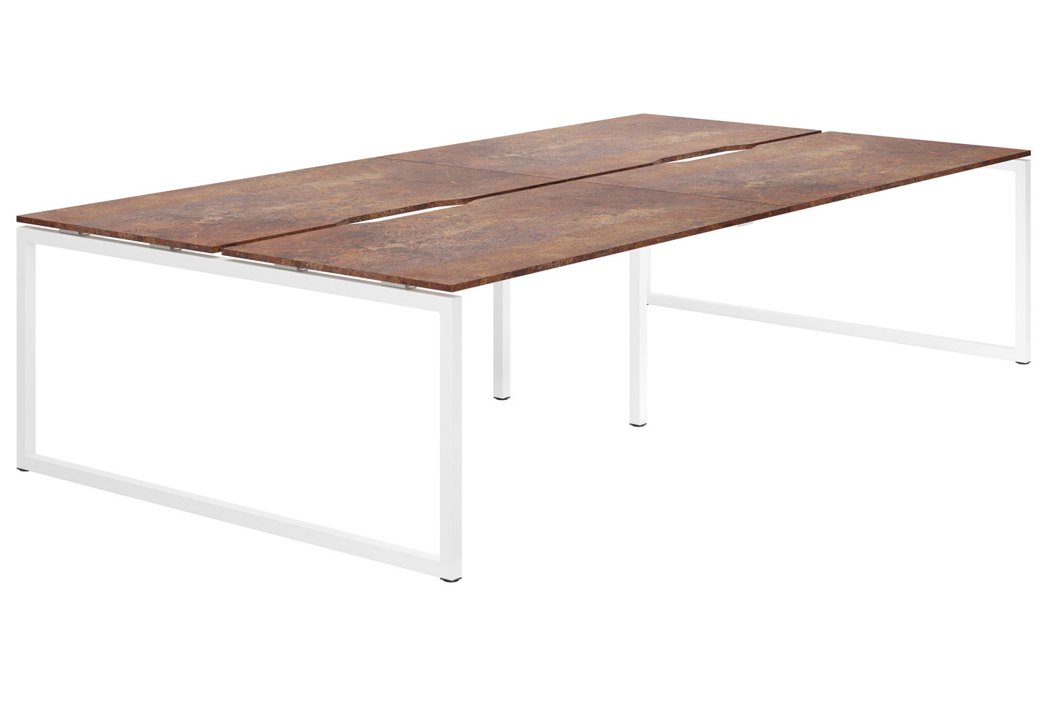Lasso Hooped Leg 4 Person Back To Back Bench Desk (Rusted Steel)