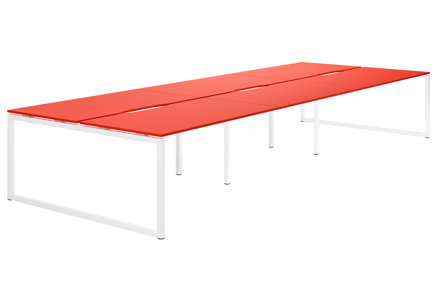 Campos Hooped Leg 6 Person Back To Back Bench Desk (Red)