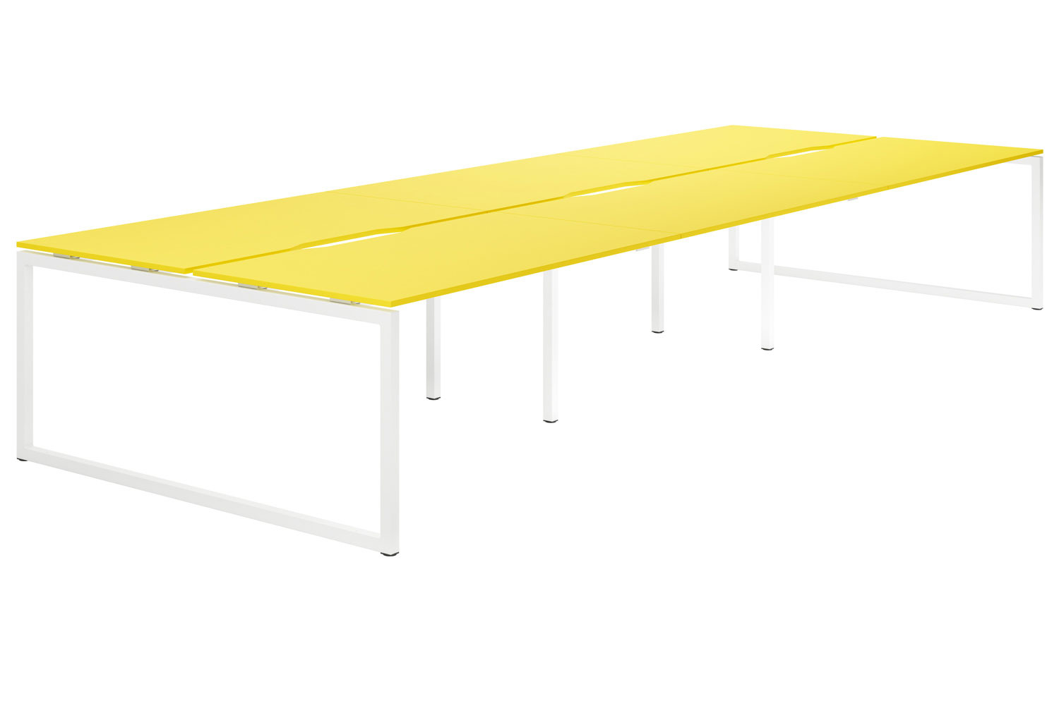 Campos Hooped Leg 6 Person Back To Back Bench Desk (Yellow)