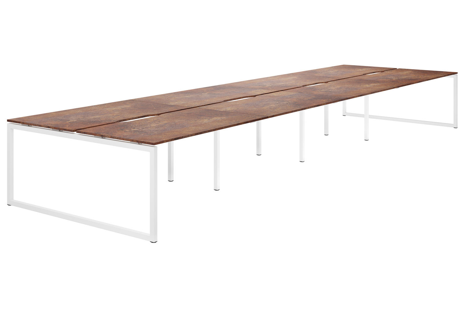 Lasso Hooped Leg 8 Person Back To Back Bench Desk (Rusted Steel)