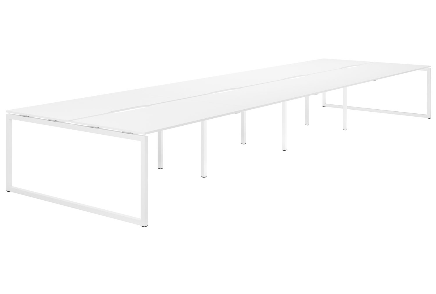 Campos Hooped Leg 8 Person Back To Back Bench Desk (White)