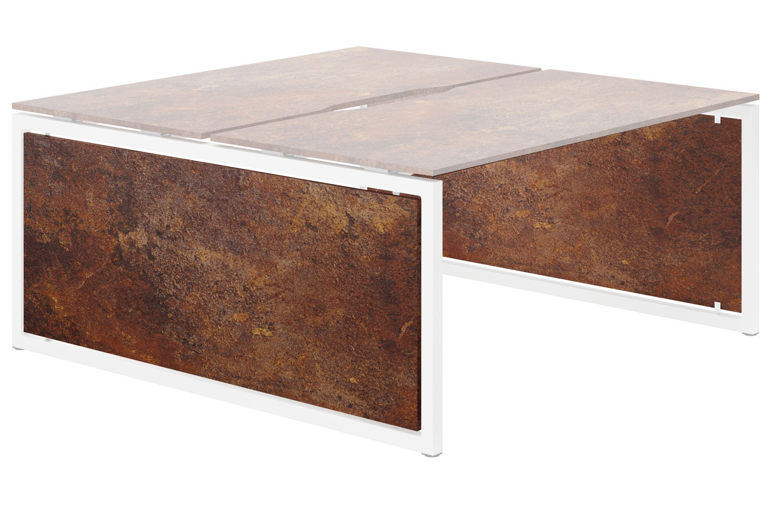 Lasso Infill For Hooped Leg Back To Back Bench Desk (Rusted Steel)