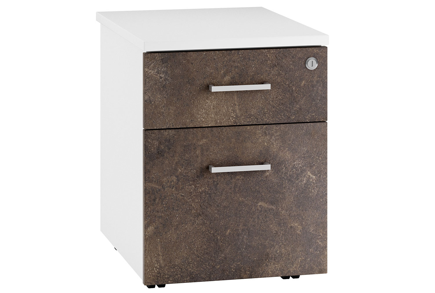 Next-Day Lasso Low Mobile 2 Drawer Pedestal (Pitted Steel)