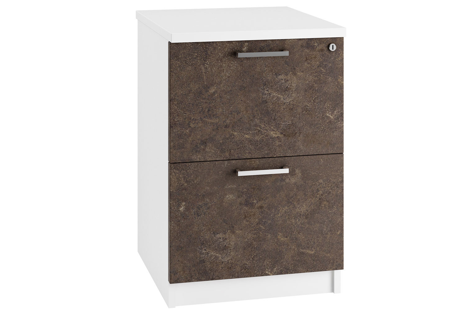 Next-Day Lasso 2 Drawer Filing Cabinet (Pitted Steel)