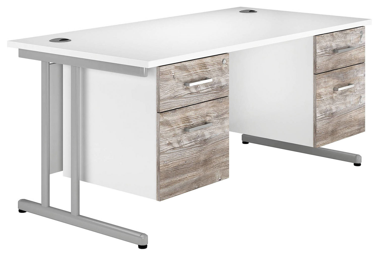 Delgado C-Leg Double Pedestal Desk (Platinum Oak)