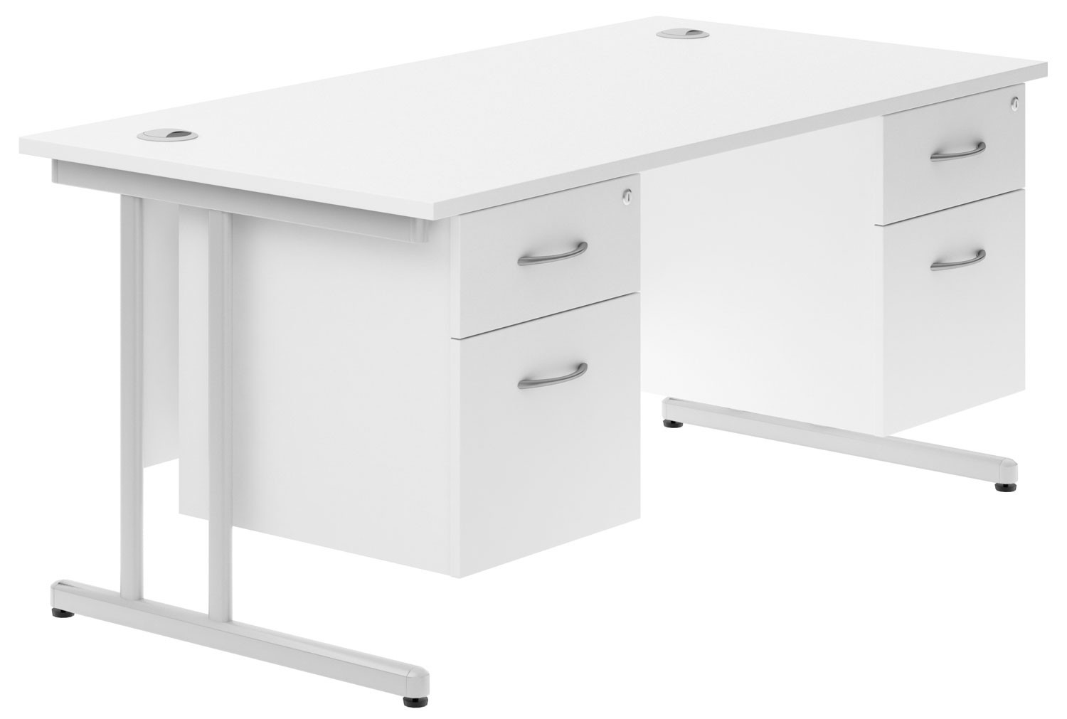 Astrada C-Leg Double Pedestal Desk (White)