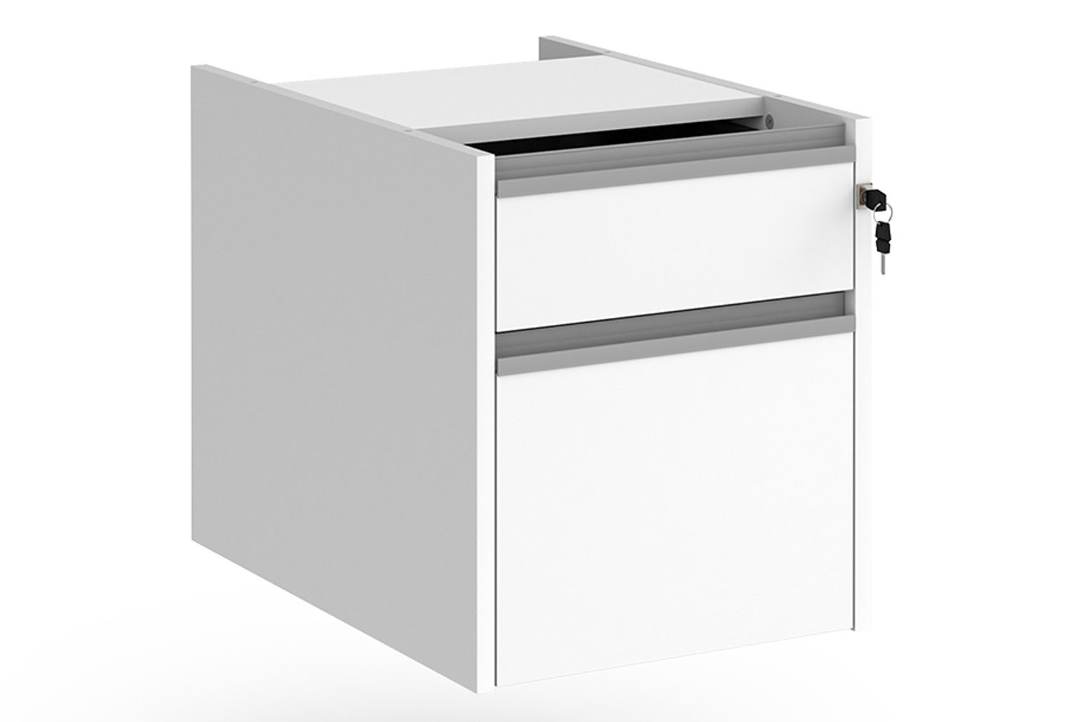 Value Line Classic+ Fixed 2 Drawer Pedestal (Silver Slats)