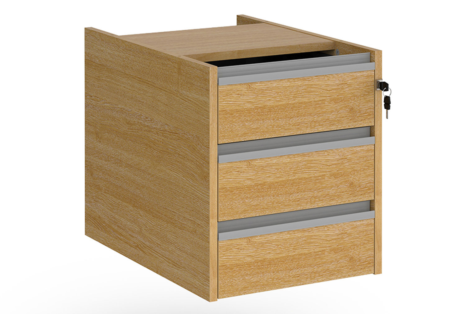 Value Line Classic+ Fixed 3 Drawer Pedestal (Silver Slats)