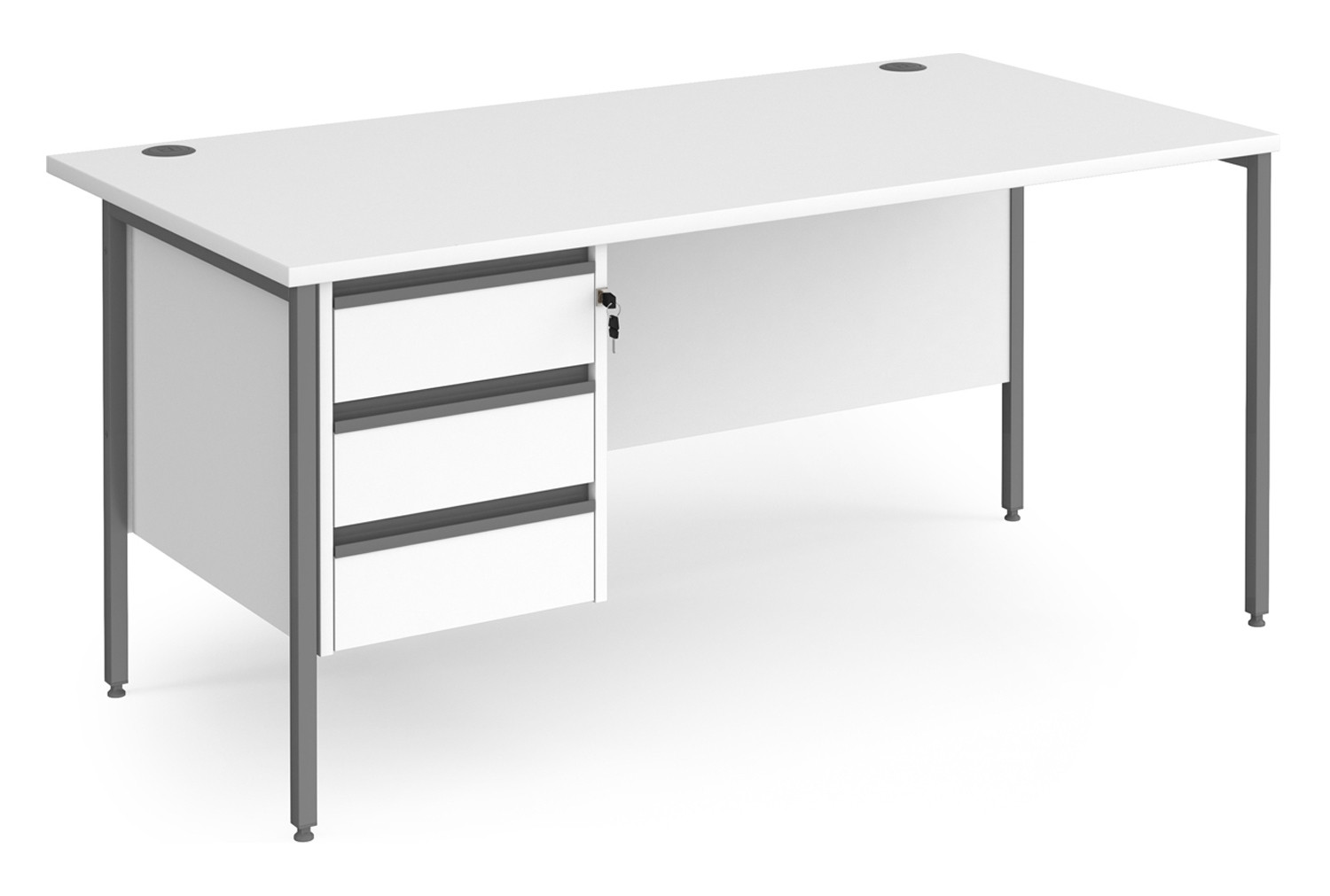 Value Line Classic+ Rectangular H-Leg Desk 3 Drawers (Graphite Leg)