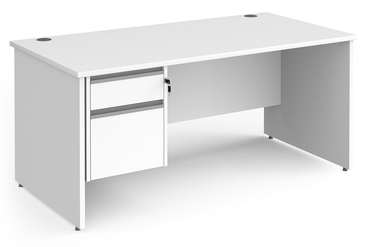 Value Line Classic+ Panel End Desk 2 Drawers (Silver Slats)