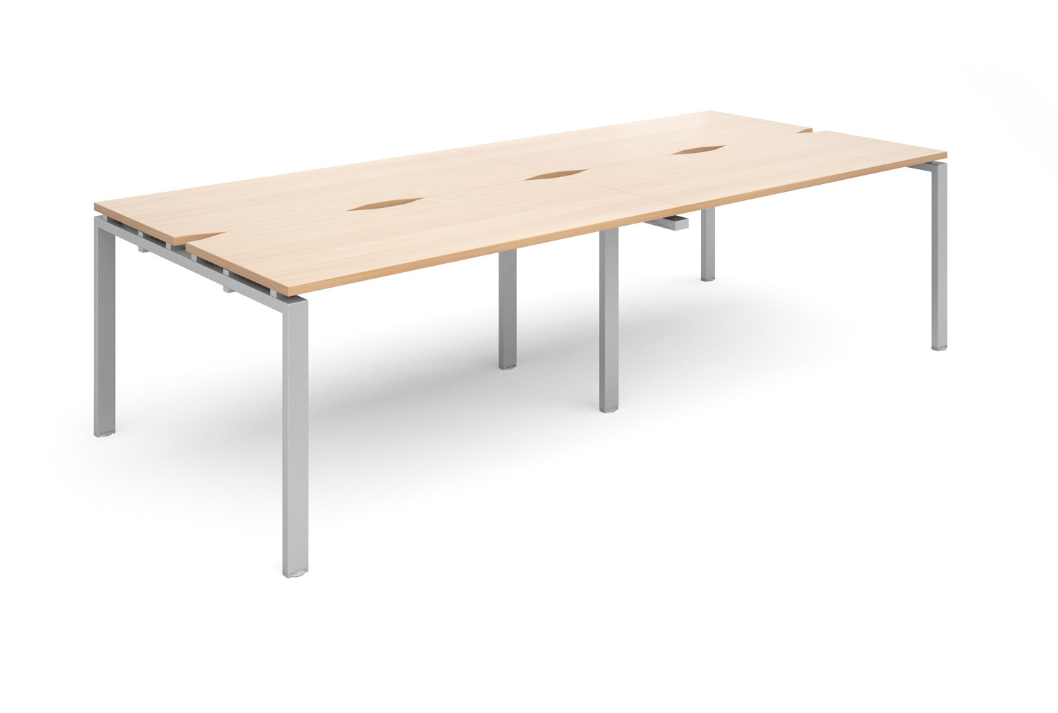 Prime Back To Back Double Narrow Bench Desk (Silver Legs)