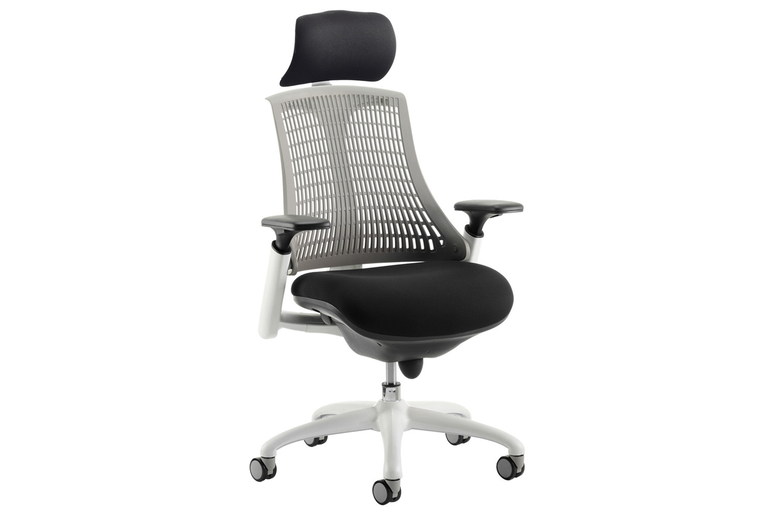 Warp White Frame Grey Mesh Back Operator Chair With Headrest