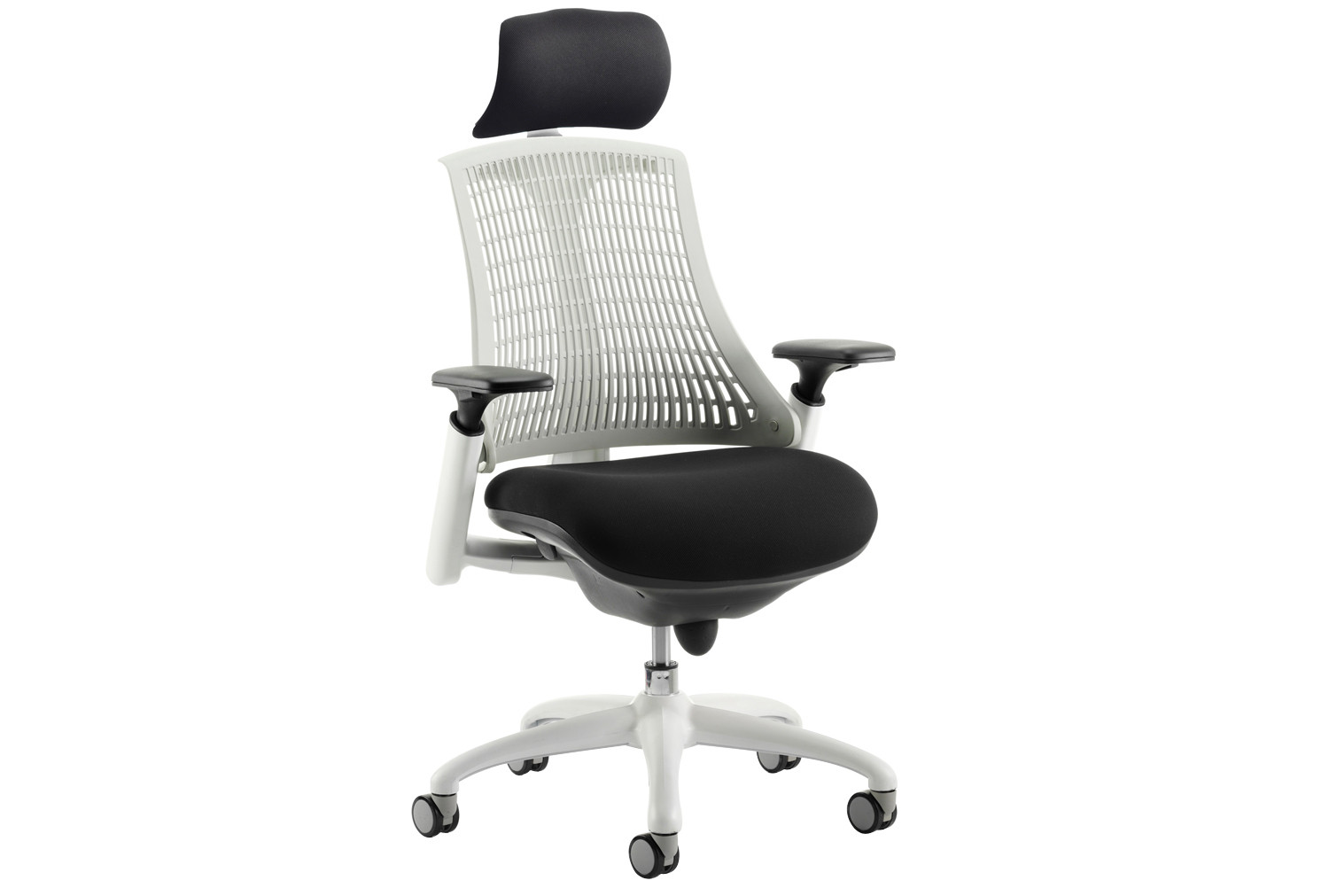 Warp White Frame White Mesh Back Operator Chair With Headrest