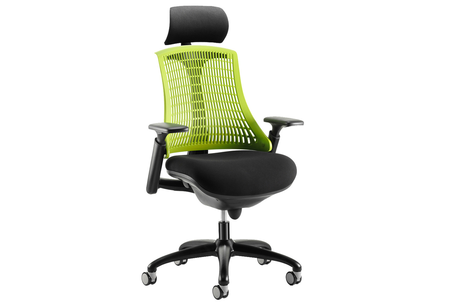 Warp Black Frame Green Mesh Back Operator Chair With Headrest