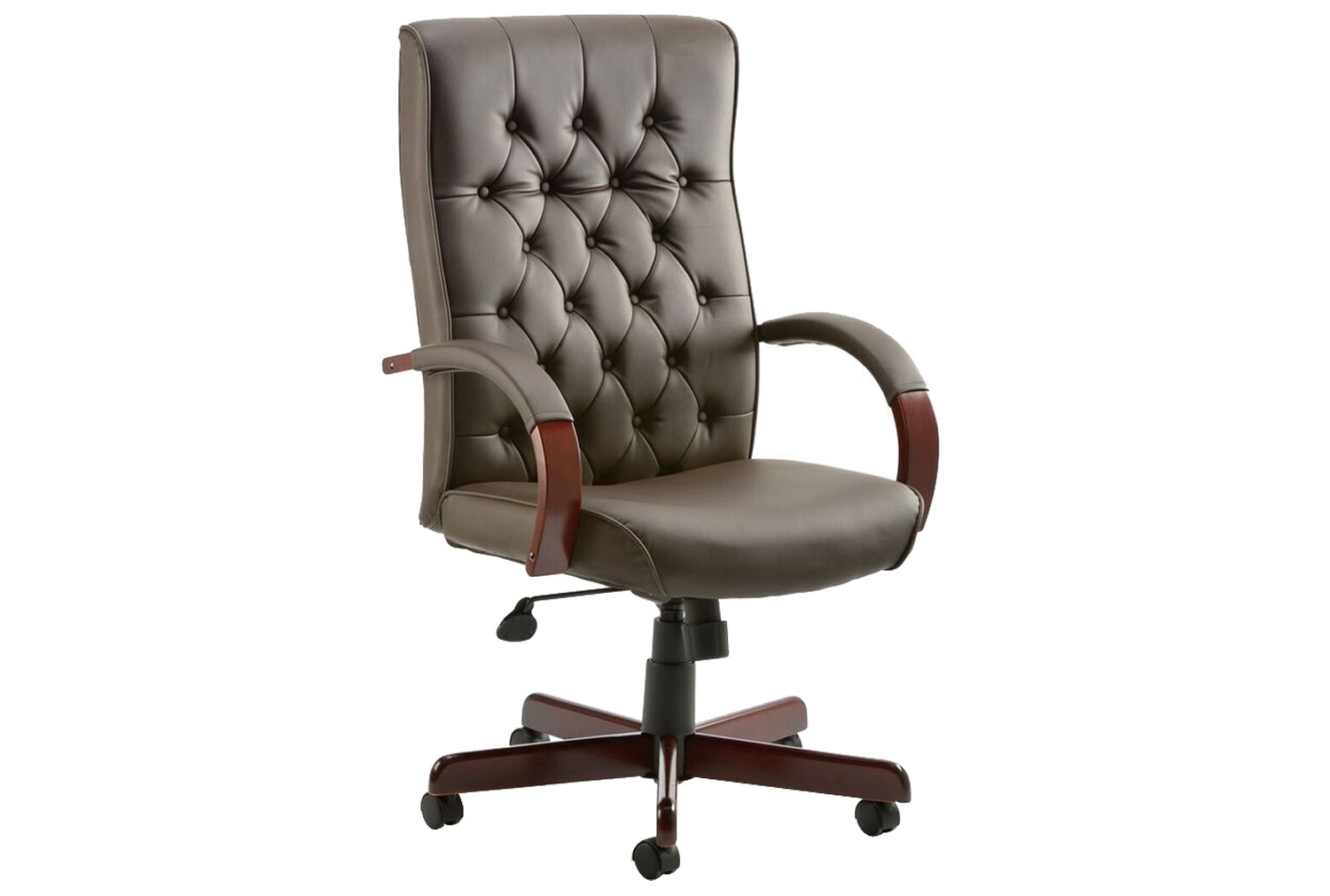 Awesome Tronso Traditional Leather Armchair Brown Customarchery Wood Chair Design Ideas Customarcherynet