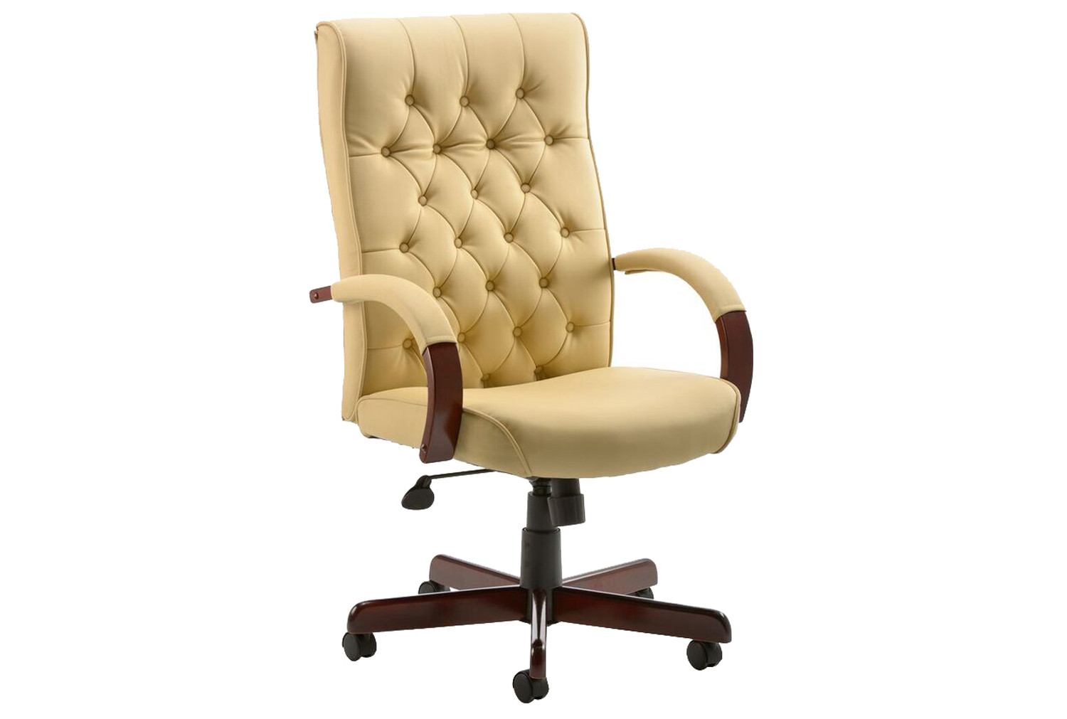 Tronso Traditional Leather Armchair Cream - Furniture At Work®