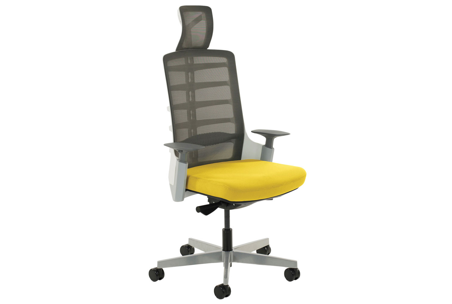 Arcadia Grey Mesh Back Posture Chair With Fabric Seat Senna Yellow