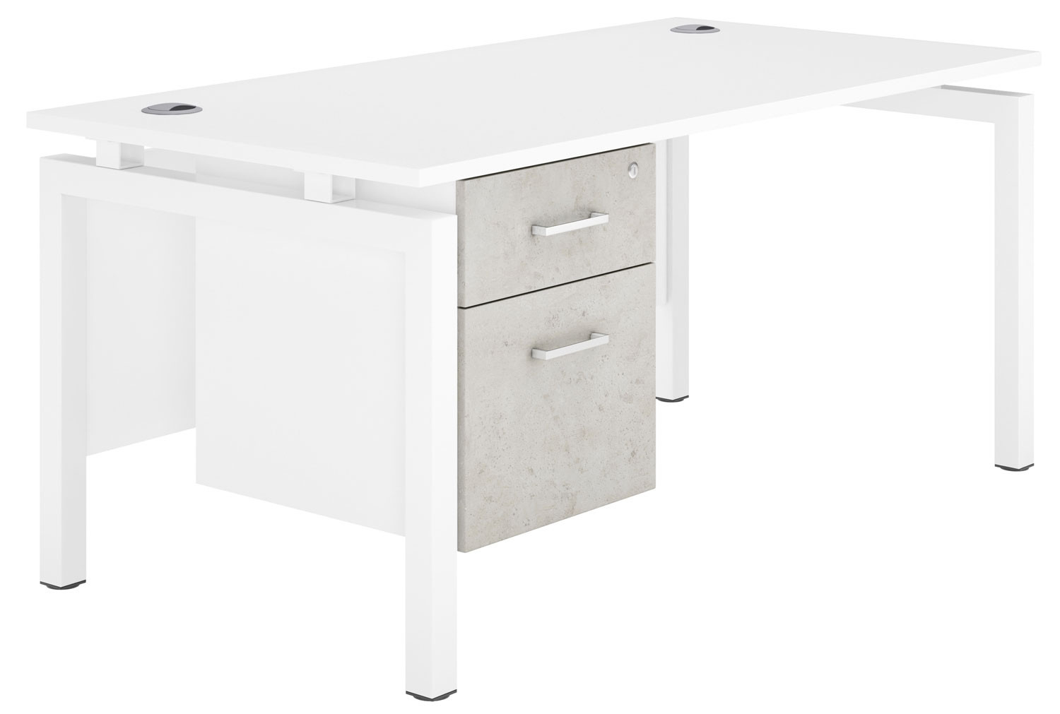 Delgado Bench Leg Single Pedestal Desk Concrete